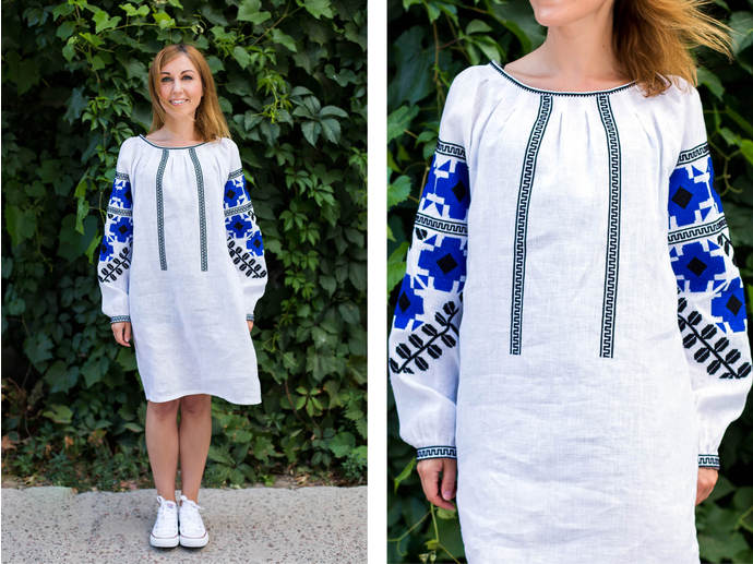 Сукня «Етнодім» сподобалась і поєднанням кольорів у вишивці – яскраво-синім  і чорним 7c26b15637def