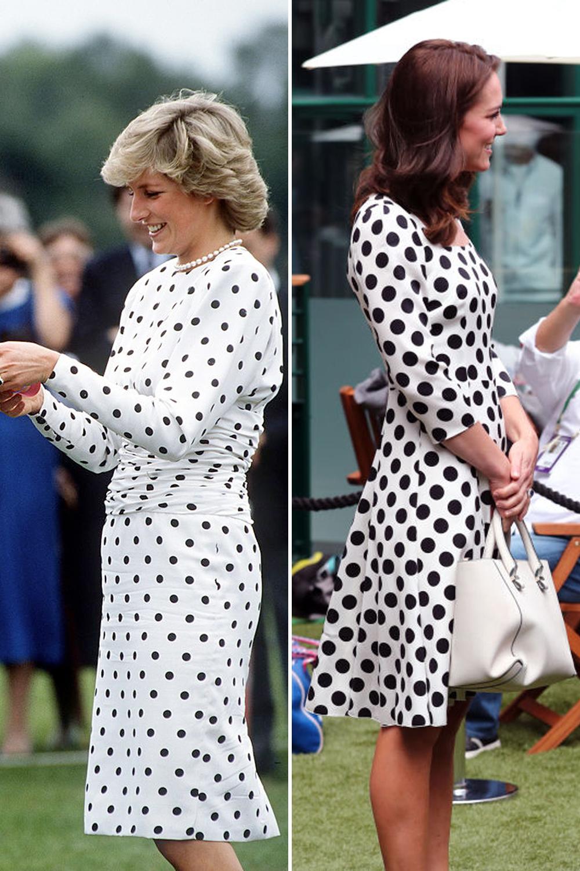 2acbd864e96 Принцесса Уэльская в платье Victor Edelstein в черно-белый горох на матче  поло в 1987 году и Кейт в наряде Dolce   Gabbana с подобным принтом на  Уимблдоне в ...