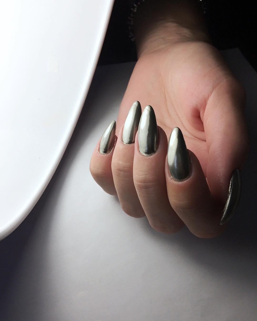 зеркальные ногти металлик