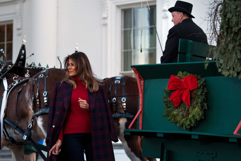 Мелания Трамп сходила зарождественской елкой вдизайнерском пальто
