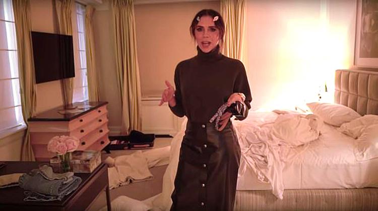 Виктория Бекхэм засняла навидео беспорядок всвоей спальне ишкафу